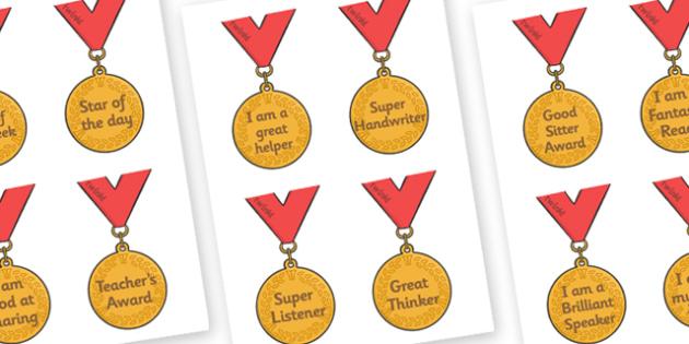 Classroom Award Medals - Award, reward, rewards, school reward, medal, good behaviour, award, good listener, good writing, good reading