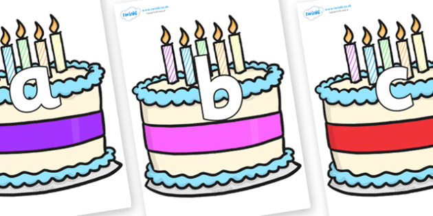Phoneme Set on Birthday Cakes - Phoneme set, phonemes, phoneme, Letters and Sounds, DfES, display, Phase 1, Phase 2, Phase 3, Phase 5, Foundation, Literacy