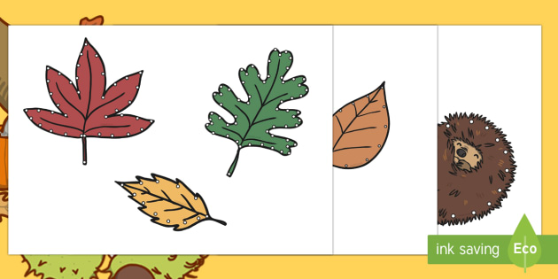 Autumn Threading Cut-Outs - threading cards, fine motor skills, activities, junior infants, senior infants, early years, foundat