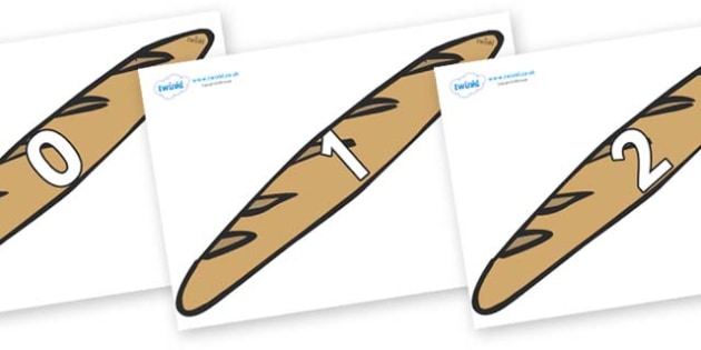Numbers 0-50 on Baguettes - 0-50, foundation stage numeracy, Number recognition, Number flashcards, counting, number frieze, Display numbers, number posters