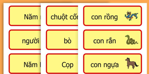 Chinese New Year Topic Word Cards - chinese new year, word cards - Vietnamese