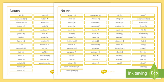 French Nouns Word Mat - French, Grammar, mat, word, nouns,French