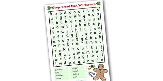 Gingerbread Man Wordsearch Worksheet - gingerbread man, games