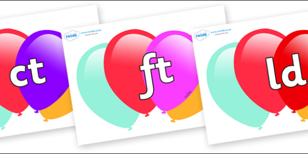 Final Letter Blends on Balloons - Final Letters, final letter, letter blend, letter blends, consonant, consonants, digraph, trigraph, literacy, alphabet, letters, foundation stage literacy