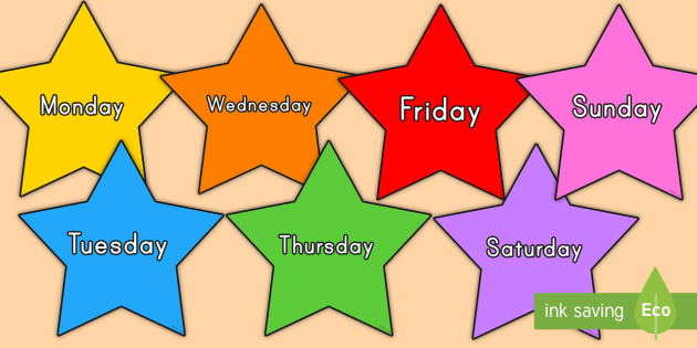 Multicolored Stars Days of the Week Display Cut-Outs - multicolored stars, days of the week, display, cut outs