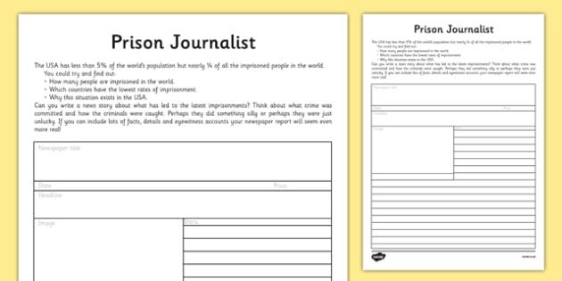 Prison Journalist Activity Sheet - prison journalist, prison, journalist, activity, sheet, worksheet
