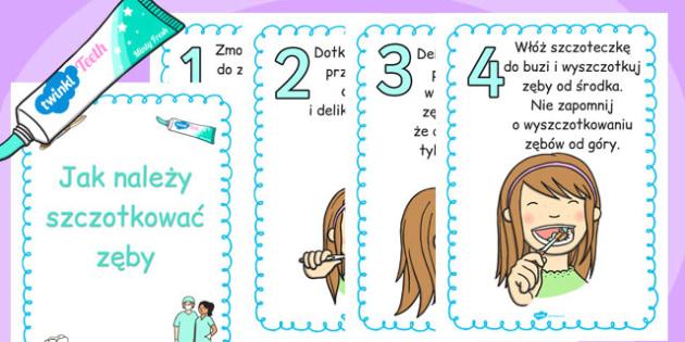 Plakat Jak szczotkować zęby po polsku - do pobrania, nauczanie , Polish