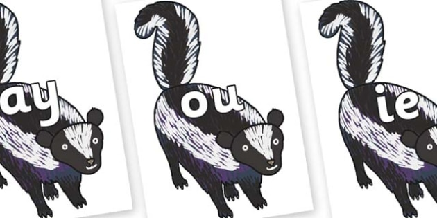 Phase 5 Phonemes on Skunk to Support Teaching on The Bad Tempered Ladybird - Phonemes, phoneme, Phase 5, Phase five, Foundation, Literacy, Letters and Sounds, DfES, display