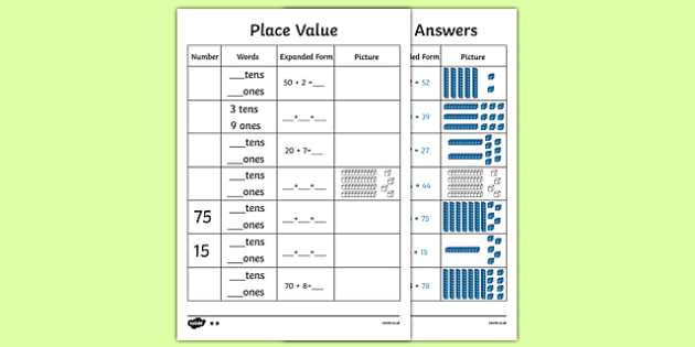 Place Value to 2 Digits Activity Sheet - place value, number worksheet, ks2 numeracy worksheets, tens and units, tens and units worksheet, ks2 numeracy, place values