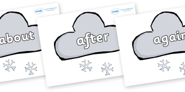 KS1 Keywords on Weather Symbols (Snow) - KS1, CLL, Communication language and literacy, Display, Key words, high frequency words, foundation stage literacy, DfES Letters and Sounds, Letters and Sounds, spelling
