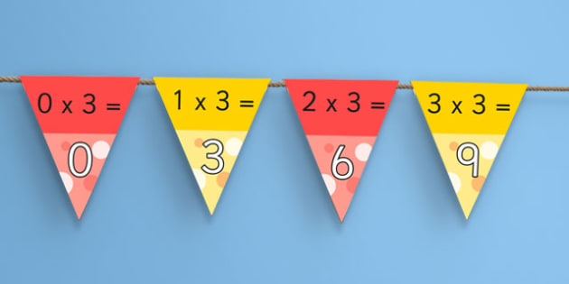 3 Times Table Bunting - 3, times, table, bunting, multiplication