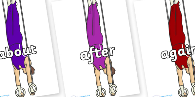 KS1 Keywords on Gymnasts (Hoops) - KS1, CLL, Communication language and literacy, Display, Key words, high frequency words, foundation stage literacy, DfES Letters and Sounds, Letters and Sounds, spelling