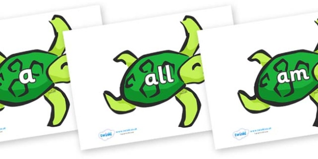 Foundation Stage 2 Keywords on Turtles - FS2, CLL, keywords, Communication language and literacy,  Display, Key words, high frequency words, foundation stage literacy, DfES Letters and Sounds, Letters and Sounds, spelling