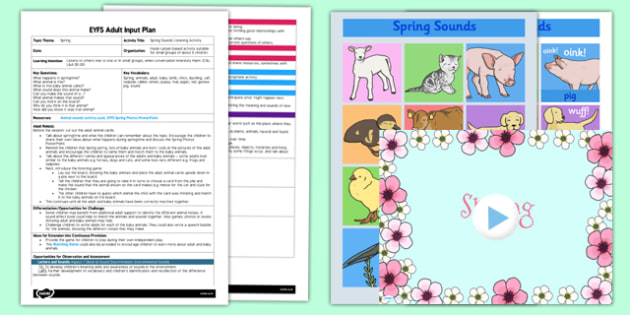 Spring Sounds Listening Activity EYFS Adult Input Plan and Resource Pack - EYFS, Early Years planning, adult led, spring, Communication and Language, CL, animals