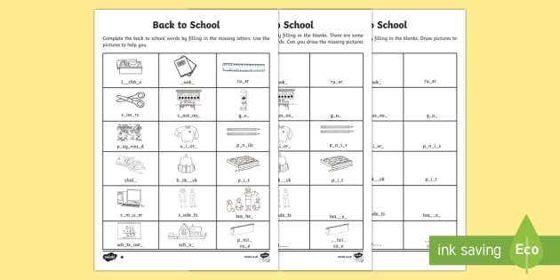Back to School Missing Letters Differentiated Activity Sheets-Australia