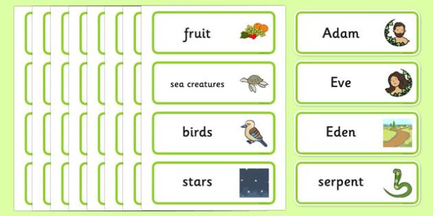 Adam and Eve Creation Story Word Cards - Adam, Eve, Eden, serpent, fruit, earth, garden, creation, creation story, word card, flashcards, cards, paradise, sea creatures, birds, stars, moon, sun, tree, evil, knowledge, animals, sky, night, day