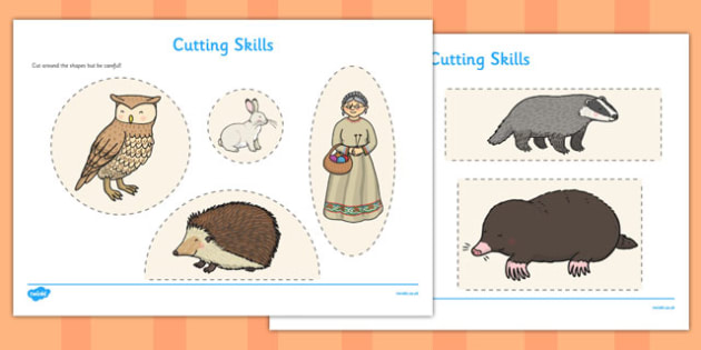 The Mitten Cutting Skills Worksheet - the mitten, cutting skills, worksheet