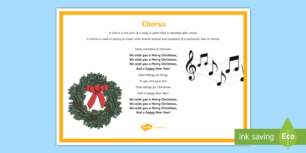 Chorus Poetry Terms A4 Display Poster - Literacy, english, writing, poems, vocabulary, verses, example, christmas