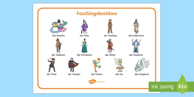Faschingskostüme Wortschatz: Querformat - Fasching, Fasnet, Fastnacht, Kostüm, Verkleidung, verkleiden, Prinzessin, Fee, Hexe, Cowboy, Indian