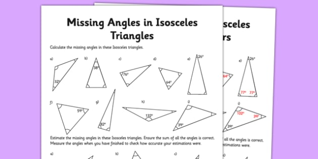 Calculating Angles of Isosceles Triangles Activity Sheet - calculating, angles, isosceles triangle, activity sheet, maths, numeracy, worksheet