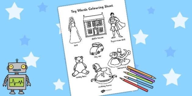 Toy Words Colouring Sheet - toys, colouring, colour in, colour