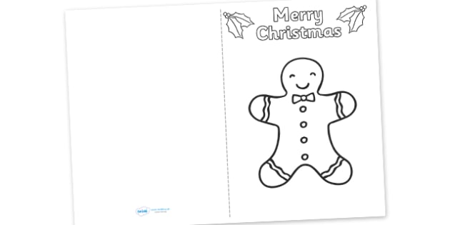 Gingerbread Man Christmas Card Templates  Cards Card