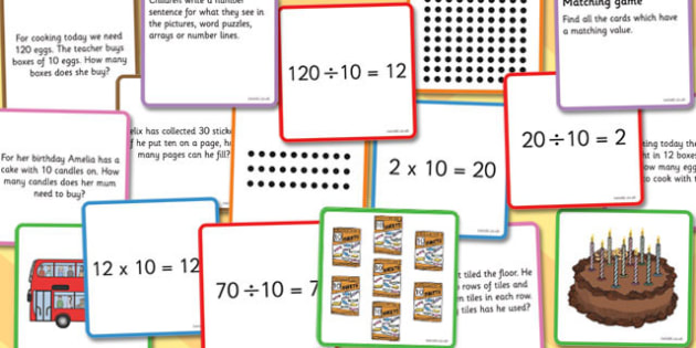 Times and Divide Card Games X10 - times, divide, card, games