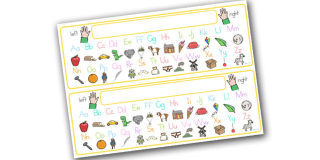 Alphabet Desk Strip With Pictures - alphabet, a-z, visual aids