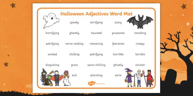 Halloween Adjectives Word Mat