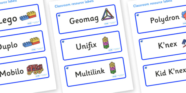 Sapphire Themed Editable Construction Area Resource Labels - Themed Construction resource labels, Label template, Resource Label, Name Labels, Editable Labels, Drawer Labels, KS1 Labels, Foundation Labels, Foundation Stage Labels