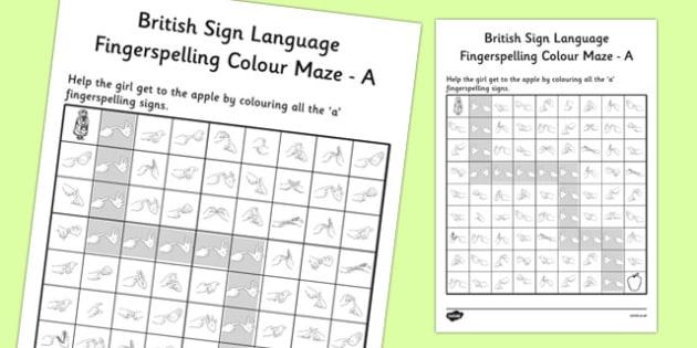 British Sign Language Fingerspelling Colour Maze A - colour, maze