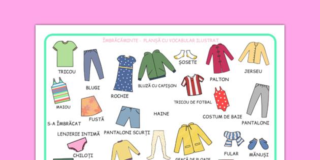 Obiecte vestimentare - Planșă imagini și cuvinte