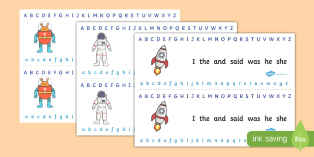 Alphabet Strips Space - alphabet, a-z, space, visual aid, letters