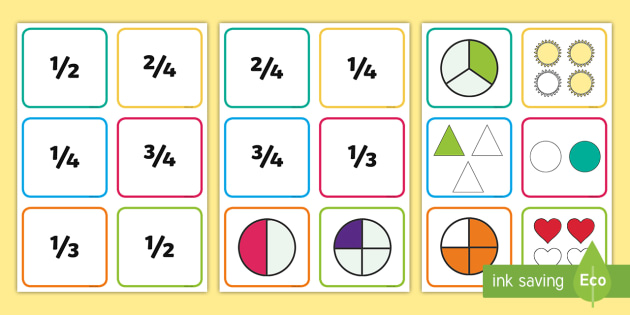 KS1 Quarters, Thirds and Halves Fraction Cards - recognising fractions, equivalent fractions, fractions of objects, 1/2, 1/4, 1/3, year 1 objective,