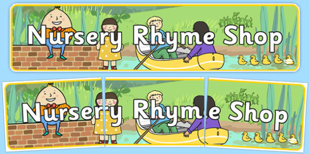 Nursery Rhyme Shop Role Play Banner - nursery rhyme shop, nursery rhyme, rhyme, banner, display