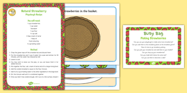 Picking Strawberries Playdough Busy Bag Prompt Card and Resource Pack - strawberry, PYO, pick your own, fruit farm, cake, basket
