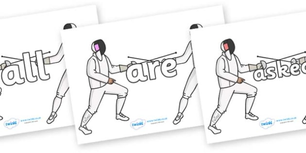 Tricky Words on Fencing - Tricky words, DfES Letters and Sounds, Letters and sounds, display, words