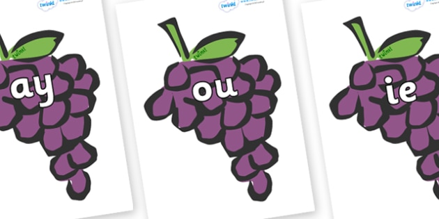 Phase 5 Phonemes on Grapes - Phonemes, phoneme, Phase 5, Phase five, Foundation, Literacy, Letters and Sounds, DfES, display
