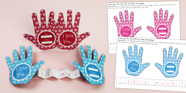 Valentines Day I Love You This Much Fold Paper Hands - australia
