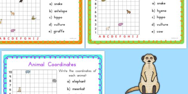 Animal Coordinates Maths Challenge Cards - australia, coordinates