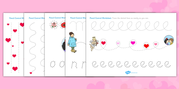 Valentine's Day Pencil Control Worksheets - valentines, control