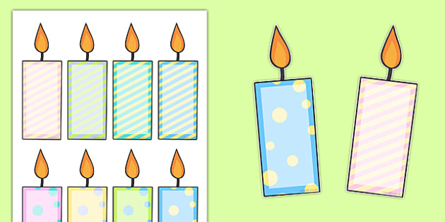 Editable Birthday Candles - birthday, celebration, birthdays, candle, birthday candle, editable, activity