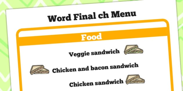 Word Final ch Menu - ch menu, sounds, word sounds, sound, menu