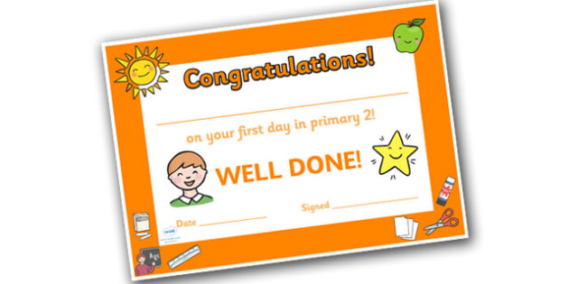 First Day Award Certificates Primary 2 - award certificates, awards, certificates, first day, primary, first day awards, first day certificates