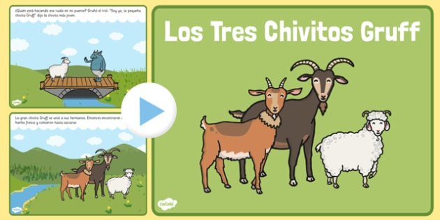 Los Tres Chivitos Gruff Story PowerPoint Spanish - spanish, billy goats gruff, story, powerpoint