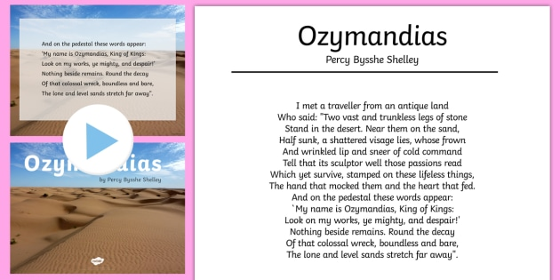 Ozymandias Percy Bysshe Shelly Poem Resource Pack  - Reading Plan, Stimulation, Ideas, Support, English, Activity Co-ordinators, Elderly Care, Care Homes