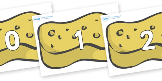 Numbers 0-50 on Sponges - 0-50, foundation stage numeracy, Number recognition, Number flashcards, counting, number frieze, Display numbers, number posters