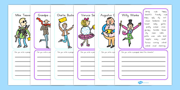 Character Description Writing Frame to Support Teaching on Charlie and the Chocolate Factory - australia