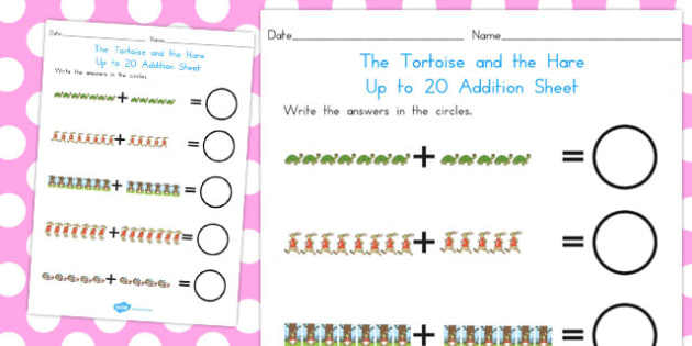 The Tortoise and the Hare Up to 20 Addition Sheet - numeracy