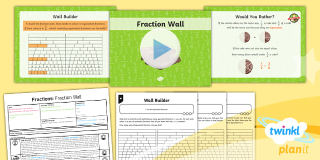PlanIt Y3 Fractions Lesson Pack Recognise and Show Equivalent Fractions (1) - Fractions, equivalent, equal to, equal fractions, fraction wall
